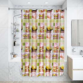 Штора для ванной комнаты «Спа» 180х180 см цвет зелёный