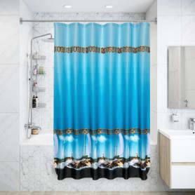Штора для ванной комнаты «Парус» 180х180 см цвет синий
