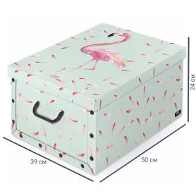 Коробка с ручками Domo Pak Фламинго, 39х50x24 см, картон
