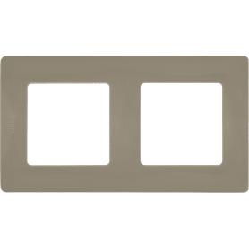 Рамка для розеток и выключателей Legrand Etika 2 поста, цвет светлая галька