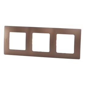 Рамка для розеток и выключателей Legrand Etika 3 поста, цвет какао