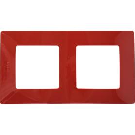Рамка для розеток и выключателей Legrand Etika 2 поста, цвет красный