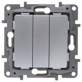 Выключатель встраиваемый Legrand Etika 3 клавиши, цвет алюминий