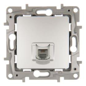 Телефонная розетка Etika RJ11 цвет алюминий