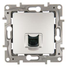 Розетка компьютерная Etika RJ45 UTP cat 6 цвет алюминий