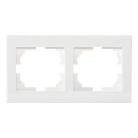 Рамка для розеток и выключателей Lezard «Rain», 2 поста, цвет белый