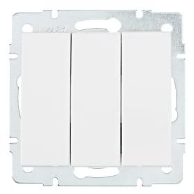 Выключатель Lezard Rain 3 клавиши цвет белый