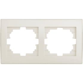 Рамка для розеток и выключателей Lezard «Rain», 2 поста, цвет жемчужно-белый матовый
