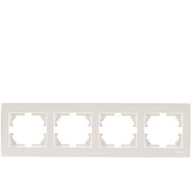 Рамка для розеток и выключателей Lezard «Rain», 4 поста, цвет жемчужно-белый матовый
