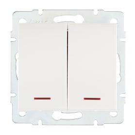 Выключатель Lezard Rain 2 клавиши с подсветкой цвет жемчужно-белый матовый