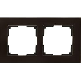 Рамка для розеток и выключателей Werkel Favorit 2 поста, стекло, цвет коричневый