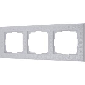 Рамка для розеток и выключателей Werkel Antik 3 поста, цвет жемчужный