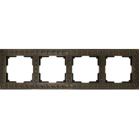 Рамка для розеток и выключателей Werkel Antik 4 поста, цвет бронза