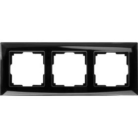 Рамка для розеток и выключателей Diamant 3 поста цвет чёрный