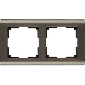 Рамка для розеток и выключателей Werkel Metallic 2 поста, металл, цвет глянцевый никель