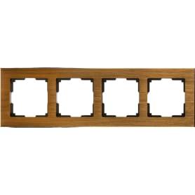 Рамка для розеток и выключателей Werkel Aluminium 4 поста, цвет коричневый