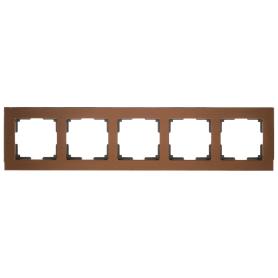 Рамка для розеток и выключателей Werkel Aluminium 5 постов, цвет коричневый
