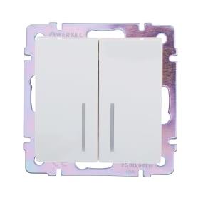Выключатель встраиваемый Werkel 2 клавиши с подсветкой, цвет белый