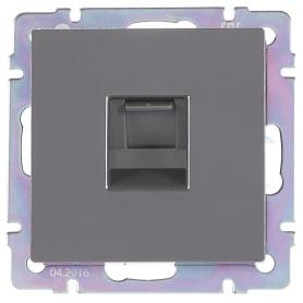Телефонная розетка встраиваемая Werkel RJ11, цвет серо-коричневая