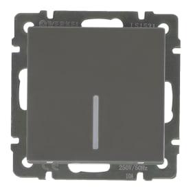 Выключатель проходной встраиваемый Werkel 1 клавиша с подсветкой, цвет серо-коричневый