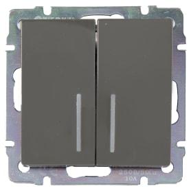 Выключатель встраиваемый Werkel 2 клавиши с подсветкой, цвет серо-коричневый