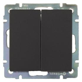 Выключатель встраиваемый Werkel 2 клавиши, цвет черный