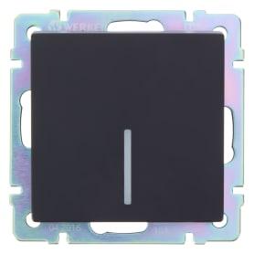 Выключатель встраиваемый Werkel 1 клавиша с подсветкой, цвет черный