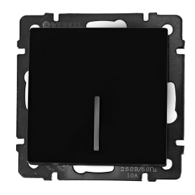 Выключатель проходной Werkel, 1 клавиша, с подсветкой, цвет черный