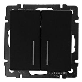Выключатель Werkel, 2 клавиши, с подсветкой, цвет черный