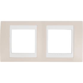 Рамка для розеток и выключателей Schneider Electric Unica 2 поста, цвет песчаный/белый