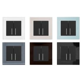 Выключатель проходной встраиваемый Werkel 2 клавиши с подсветкой, цвет черный
