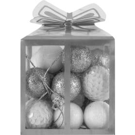 Набор ёлочных шаров, 3 см, 20 шт, цвет белый/серебристый