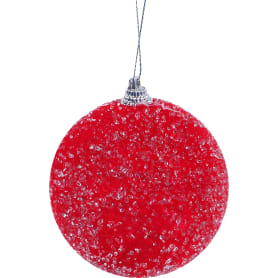 Шар ёлочный обсыпанный, 8 см, цвет красный