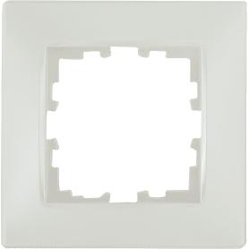 Рамка для розеток и выключателей Lexman Виктория сферическая, 1 пост, цвет жемчужно-белый матовый