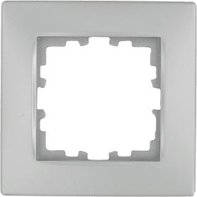 Рамка для розеток и выключателей Lexman Виктория сферическая, 1 пост, цвет серебро матовый
