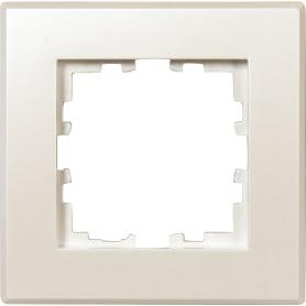 Рамка для розеток и выключателей Lexman Виктория плоская, 1 пост, цвет жемчужно-белый матовый