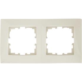 Рамка для розеток и выключателей Lexman Виктория сферическая, 2 поста, цвет бежевый