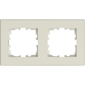 Рамка для розеток и выключателей Lexman Виктория плоская, 2 поста, цвет белый