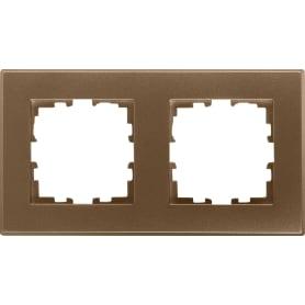 Рамка Lexman Виктория, плоская, 2 поста, цвет бронза