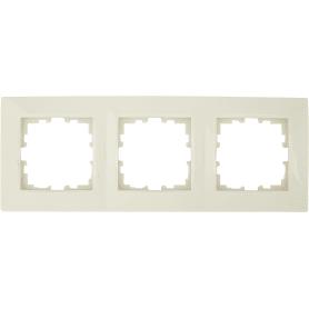 Рамка для розеток и выключателей Lexman Виктория сферическая, 3 поста, цвет бежевый