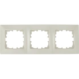 Рамка Lexman Виктория, сферическая, 3 поста, цвет жемчужно-белый матовый