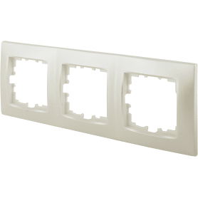 Рамка для розеток и выключателей Lexman Виктория сферическая, 3 поста, цвет жемчужно-белый матовый
