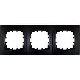 Рамка для розеток и выключателей Lexman Виктория сферическая, 3 поста, цвет чёрный бархат