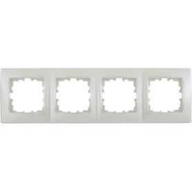 Рамка для розеток и выключателей Lexman Виктория сферическая, 4 поста, цвет жемчужно-белый матовый