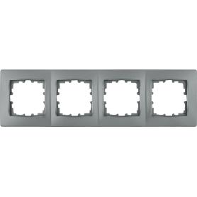 Рамка для розеток и выключателей Lexman Виктория сферическая, 4 поста, цвет матовое серебро