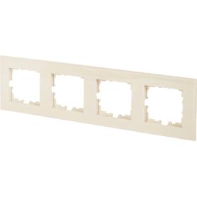 Рамка для розеток и выключателей Lexman Виктория плоская, 4 поста, цвет бежевый
