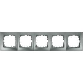 Рамка Lexman Виктория, сферическая, 5 постов, цвет матовое серебро