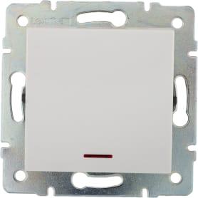 Выключатель встраиваемый Lexman Виктория 1 клавиша с подсветкой, цвет белый