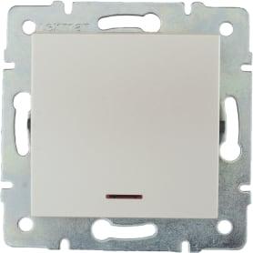 Выключатель встраиваемый Lexman Виктория 1 клавиша с подсветкой, цвет жемчужно-белый матовый