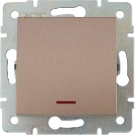 Выключатель Lexman Виктория, 1 клавиша, с подсветкой, цвет бронза матовая
